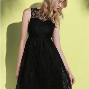 NEW Black Sleeveless Dress Lace Neckline NWT